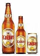 Cerveja kaiser em garrafa e em lata